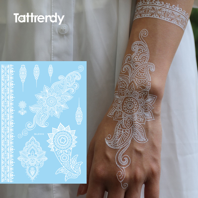 Arm Shoulder Hand Wedding Bride Lace Flower Design Flash White