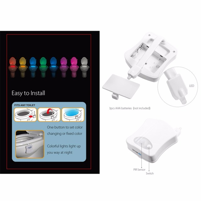 Sensor Toilet Light LED Lamp Human Motion Activated PIR 8 Colours Automatic RGB Night lighting