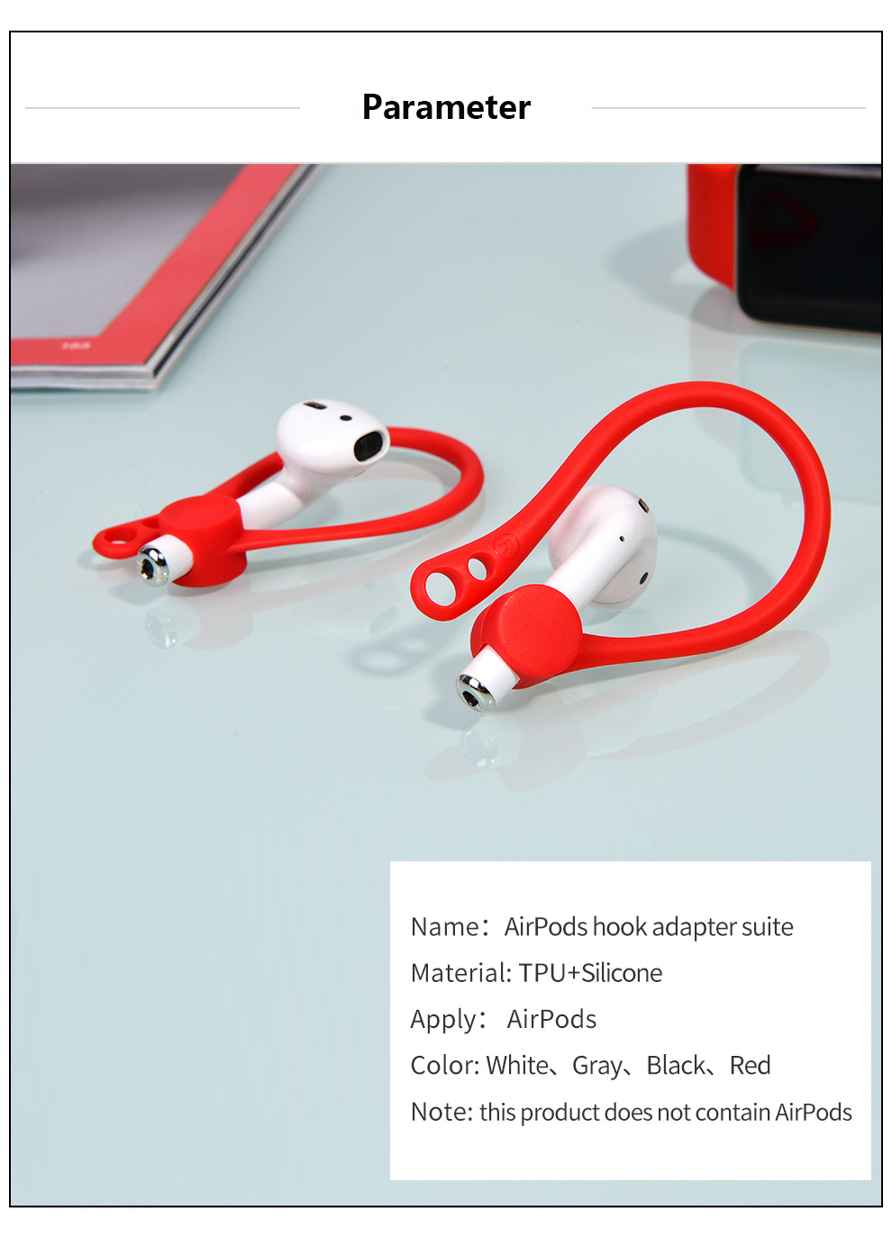 For Apple AirPods Case Silicone Wireless Earphone AirPods Protective Accessories Protector Earhooks Sports Anti-lost Ear Hook-6