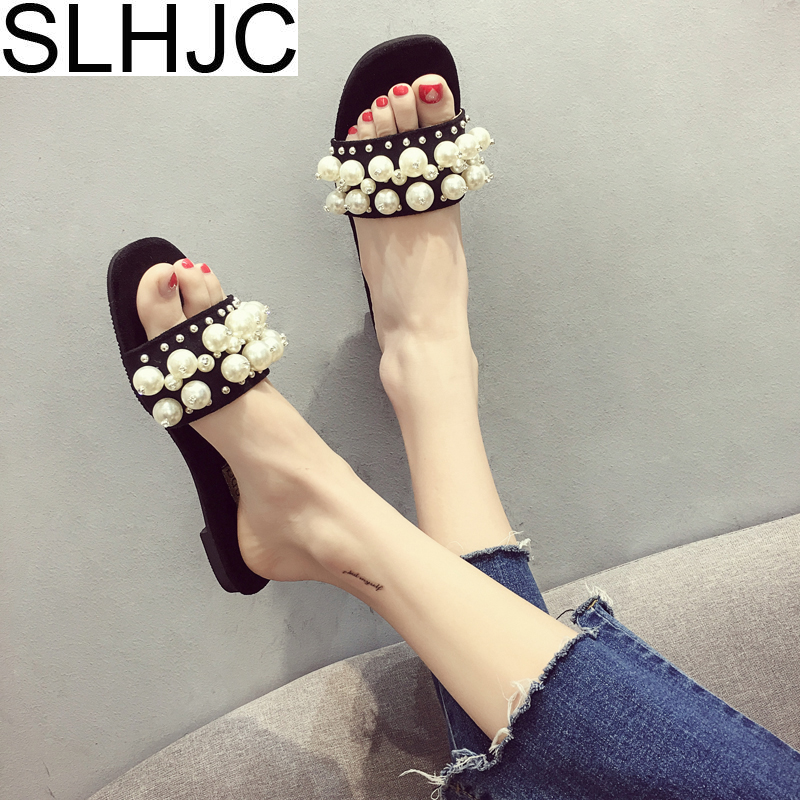 SLHJC Fashion Pearl Slippers Women Summer Shoes Casual Open Toe Flat Heel Full Pearl Female Elegance Slides Sandals 2018 Newest cresfimix women cute spring summer slip on flat shoes with pearl female casual street flats lady fashion pointed toe shoes