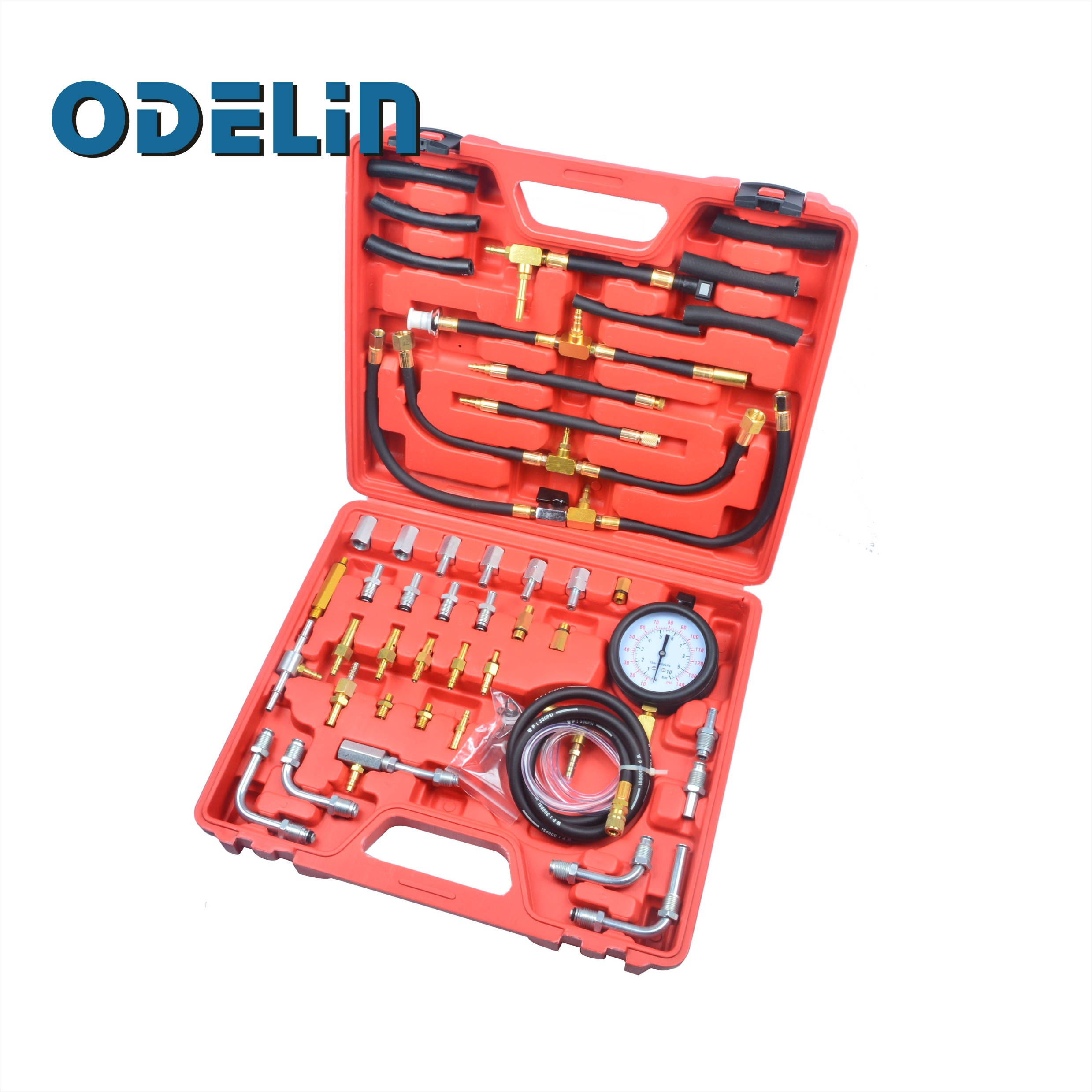 Car Fuel Injection Gauge Pressure Tester Test Kit Auto System Pump Tool Set