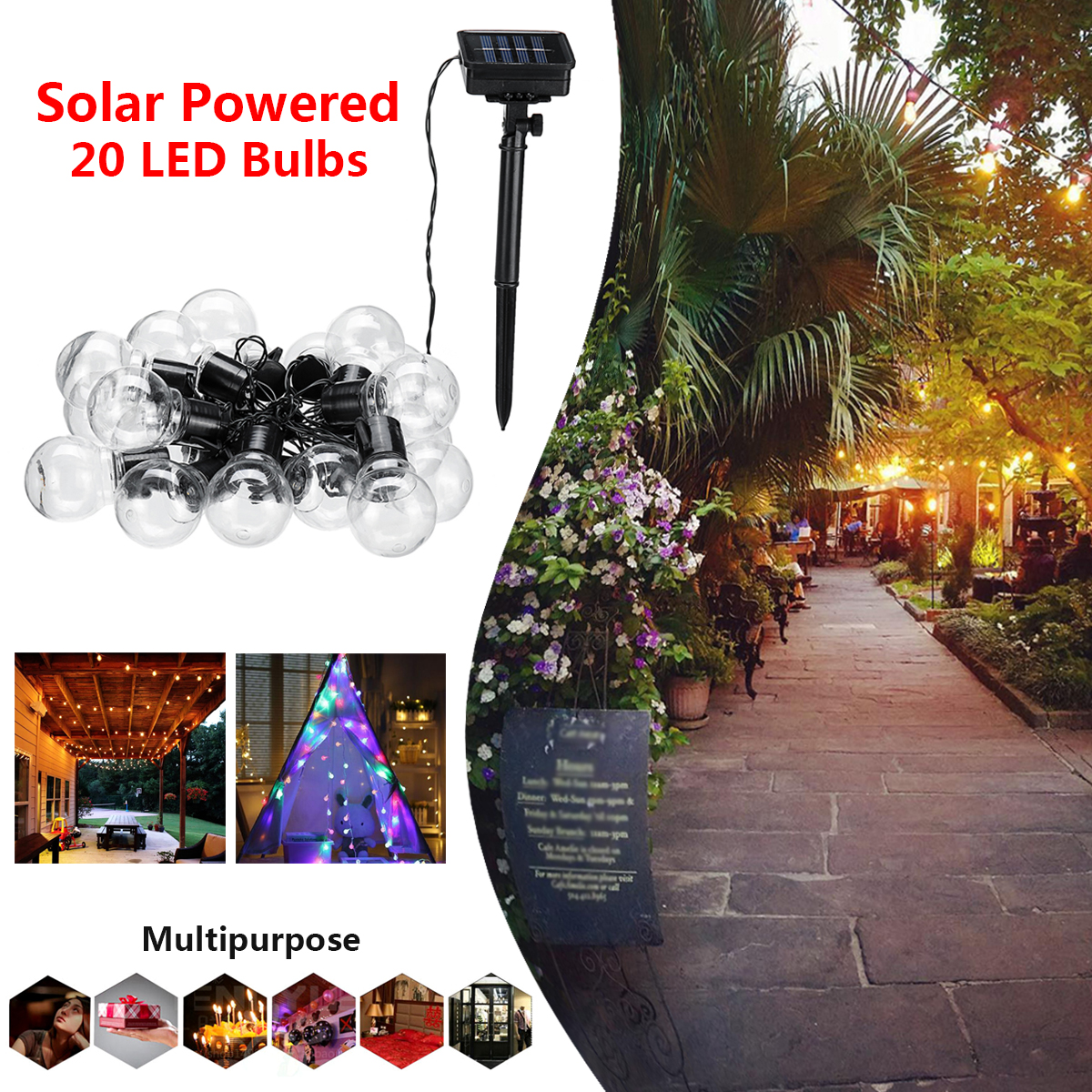 все цены на Solar Powered 20 LED Bulb String Light Outdoor Christmas Party Decor Fairy Hanging Lamp Warm White /Colorful Battery 8 Mode