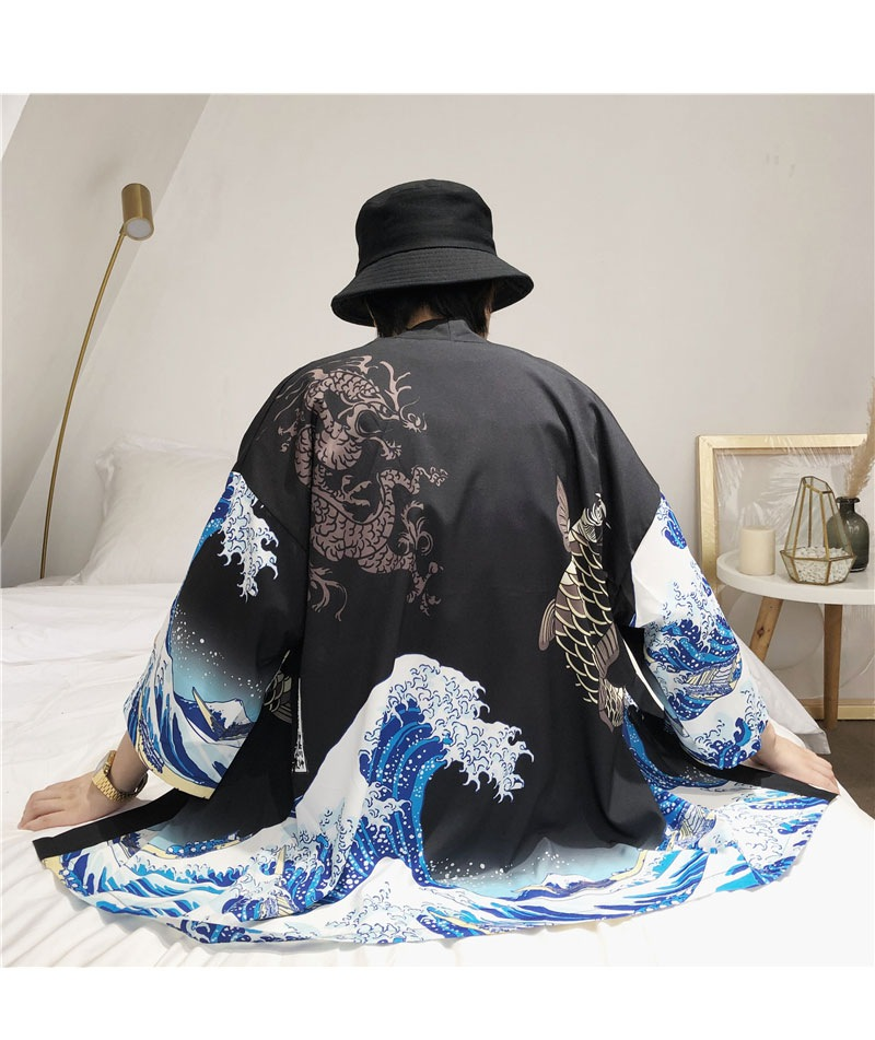 Zongke Japanese Kimono Cardigan Men Wave and Carp Print Long Kimono Cardigan Men Thin Mens Kimono Cardigan Jacket Coat 2018