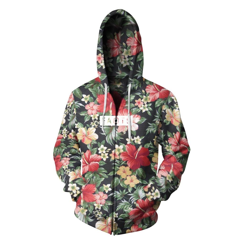 2018 New spring Jacket Men/Women 3D Hoodies Flowers Printing Zipper Sweatshirts Outwear Fashion Sweat Homme