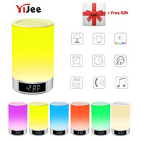 YiJee Wireless Bluetooth Speaker Portable Beside Lamp Touch Dimmable Light RGB Color Hands free Night Light with Alarm Clock