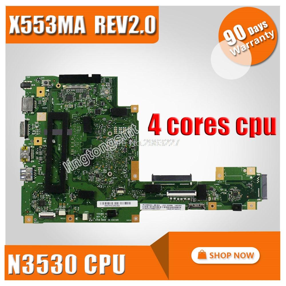 X553MA Motherboard REV2.0 N3530U For ASUS A553M D553M F553M K553M X503M Laptop motherboard X553MA mainboard X553MA motherboard все цены