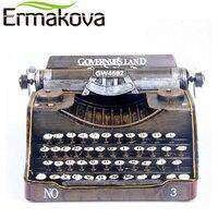 ERMAKOVA Retro Typewriter Handmade Metal Crafts Vintage Typer Antique Marking Machine Model Figurine Prop Gift Home Decor