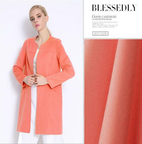 Autorisation spéciale! Tissus en laine de cachemire rose orange de haute qualité vêtements d'hiver en laine en gros