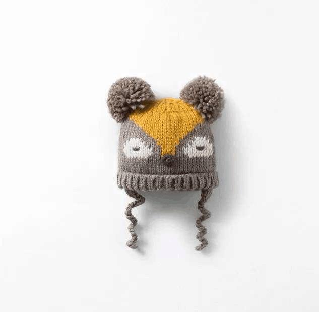df8ad132 2015 Korean New Fashion Baby Girls Boys Kids Children Dual Ball Knit  Sweater Cap Hat Winter Warm Knitted ses fox pattern