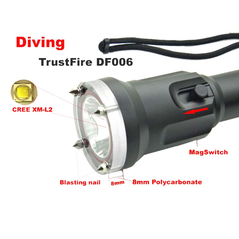 Diving TrustFire DF006 Cree XM-L2 Waterproof led light Magnetron Switch Underwater torch flashlight (by  18650 battery) DF-006