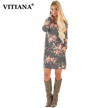 VITIANA Women Casual Dress 2017 Autumn Female Long Sleeve Flower Print Cute Straight Short Dresses For Work Office Wear Clothing short dresses office wear
