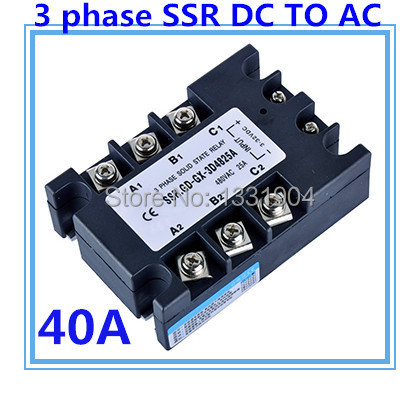Three phase solid state relay DC to AC SSR-3P-40 DA 40A SSR relay input DC 3-32V output AC480V dc ac single phase ssr solid state relay 120a 3 32v dc 24 480v ac