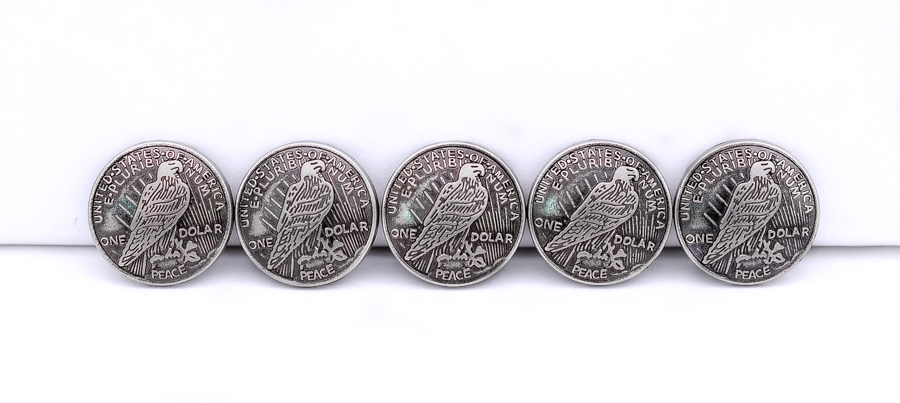 """COIN CONCHO LOT OF 10 PCS PEACE SILVER DOLLAR EAGLE REPRODUCTION 3//4/"""" WESTERN"""