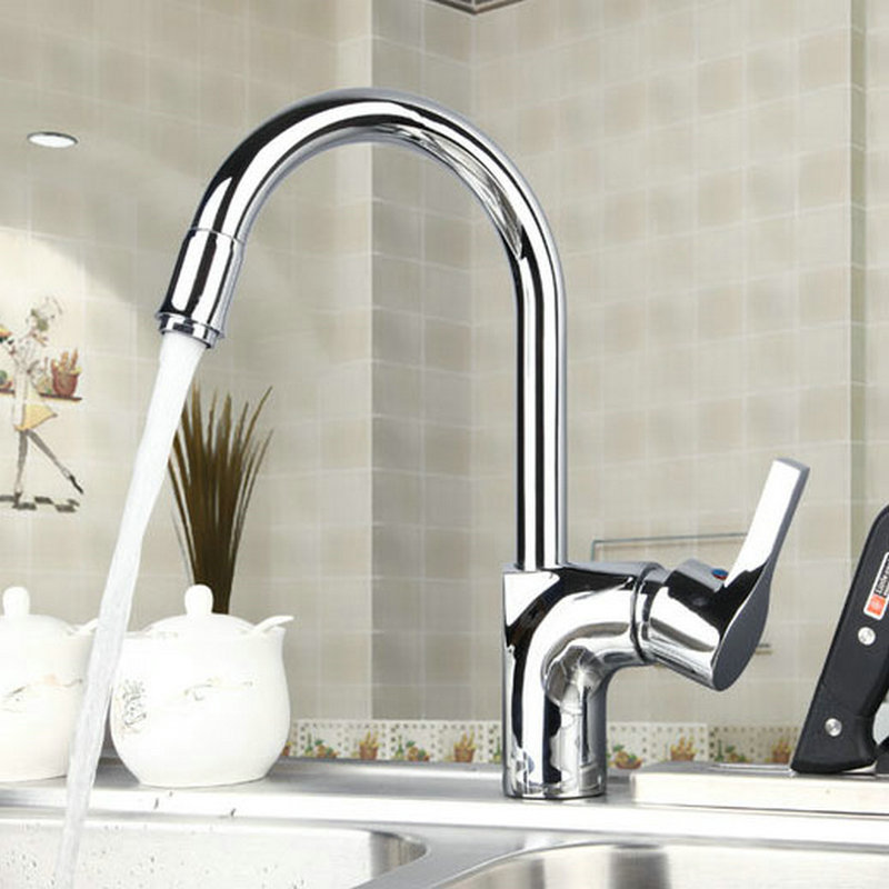 Modern Chrome Brass Kitchen Faucet Single Handle Hole Swivel Spout Mixer Tap JN8479