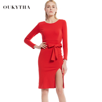 2016 Winter Autumn WomenDress New Ladies Sexy Vintage Dress High Waist Party Dresses Sexy Red Women