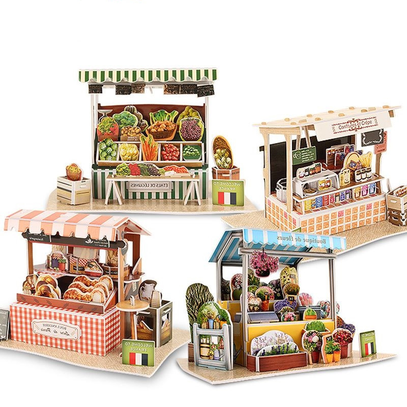CubicFun Cardboard Puzzle Model Toy DIY France Shops 3D Puzzles Models Assemble Educational Toys For Children