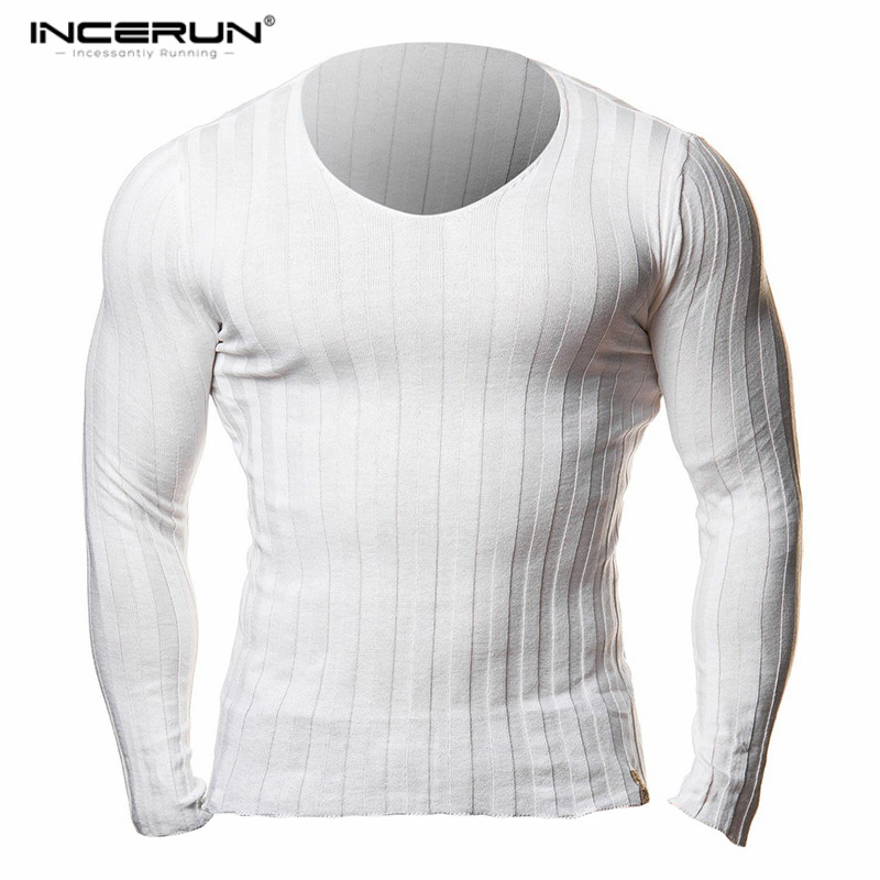 INCERUN Autumn Mens Long Sleeve Knitted T Shirts Slim Fit V Neck Hooded Sexy Muscle Tees Casual Solid Pullover Male Tops 2018