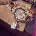 Топ Люксовый Бренд Браслет Часы Женщины Розовое Золото Кварцевые Часы Для Женщин Горный Хрусталь Из Нержавеющей Стали Наручные Часы женский часы