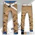 Promoção hot sale da moda de negócios de longo calças dos homens calça casual Coreano calças retas 100% algodão carga calças de marca