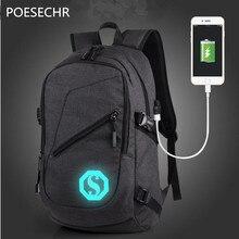 Poesechr мужчины рюкзак зарядка через USB женщин студентов сумка рюкзак для ноутбука для светящиеся рюкзаки