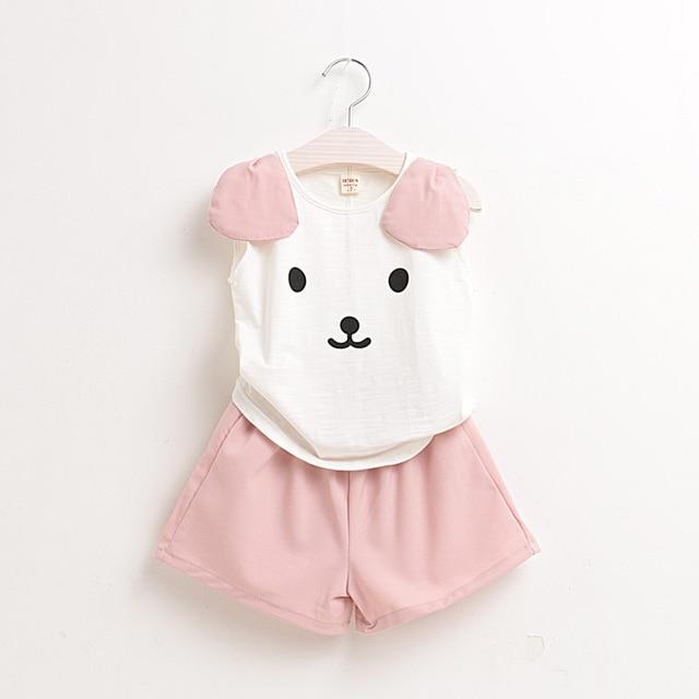 Мода Детская одежда девочек летом 2017 новый стиль девочка одежда набор Шифон Медведь Футболка + брюки 2 шт. детские одежда