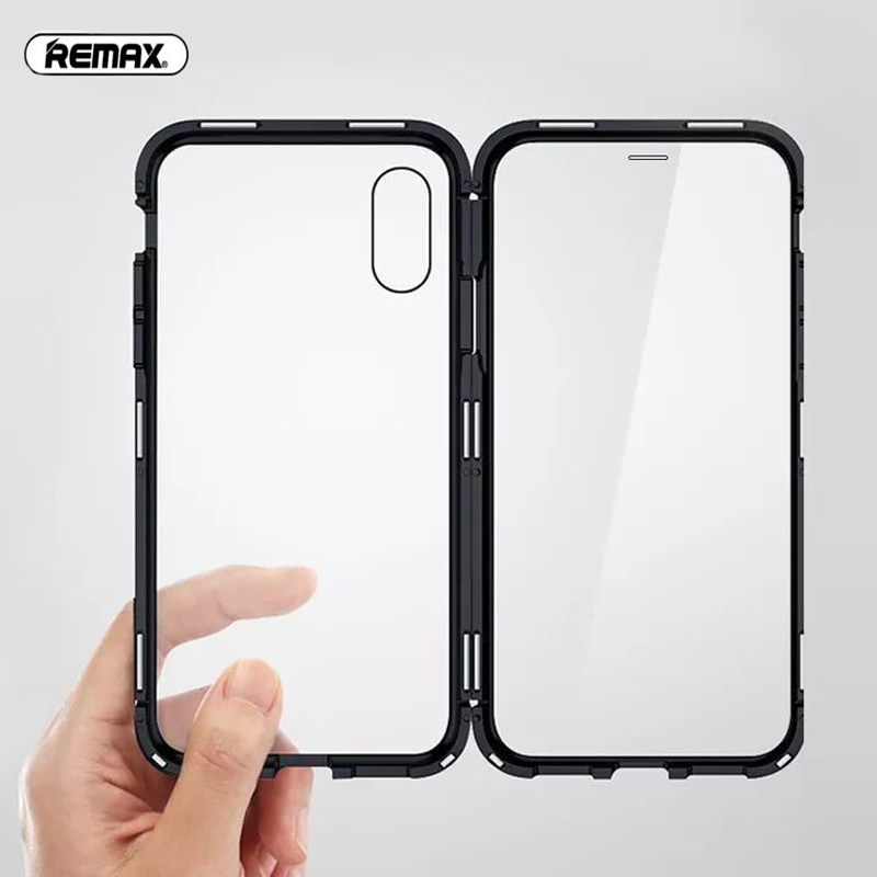 Remax Magnetic Phone Case For iPhone XS Max X XR Case Magnet Screen Protector Tempered Glass case Coque Cover iphone xr case magnetic