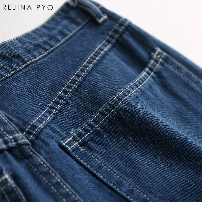 510ba9bc725ce REJINAPYO European Style Women Fashion Denim Wide Leg Jeans Female Vintage  Style High Waist Streetwear Jeans New Arrival-in Jeans from Women s Clothing  on ...