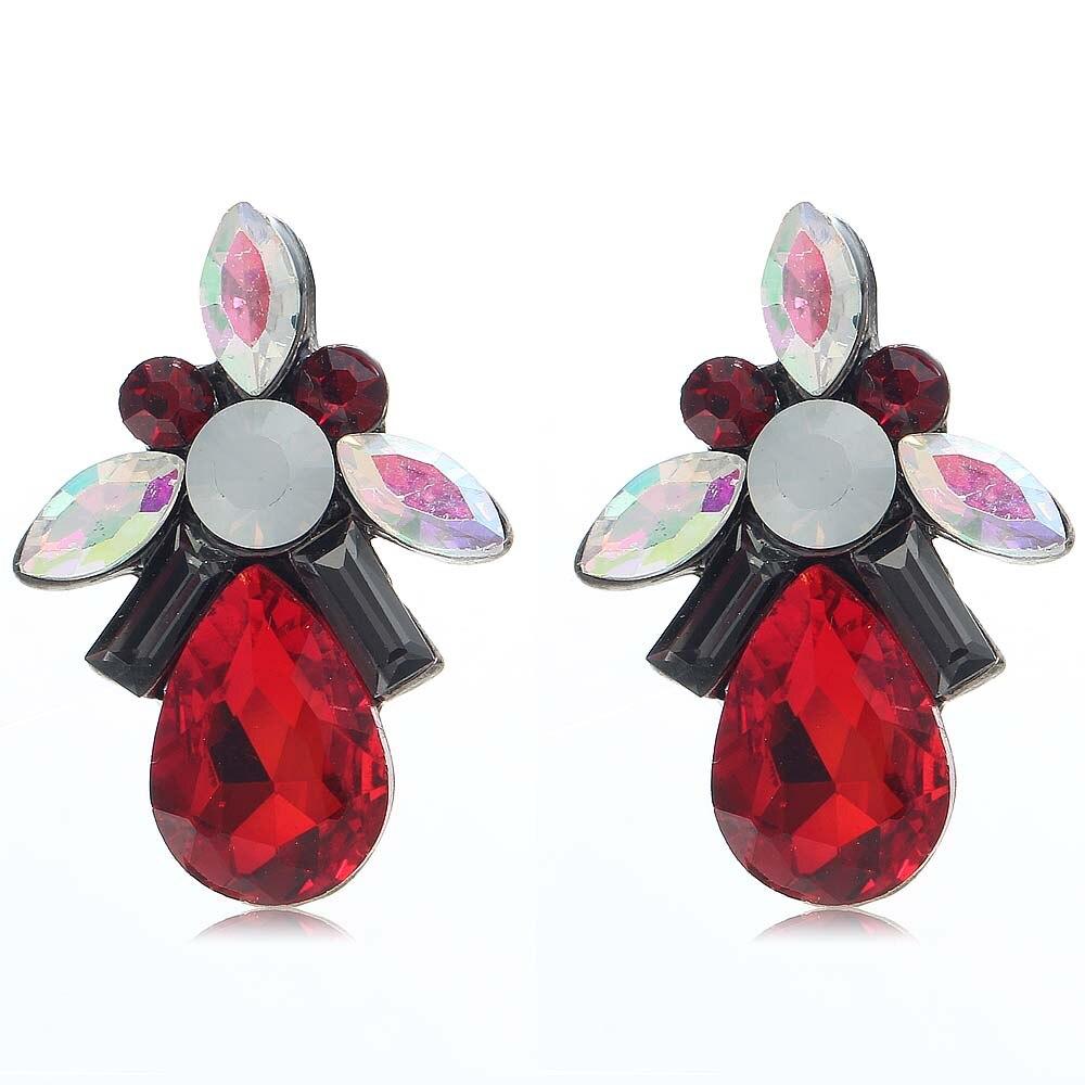 Yayi Multicolor Red Black White Glass Red Rhinestone Dangle Earring  Women's Fashion Gun Black Gem Earrings For Women E1099