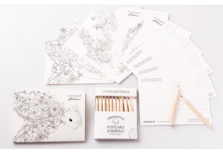 Coloring Postcard For Adult DIY Painting Card Secret Garden Colouring Cards  Secret Jungle Coloring Postcard Set