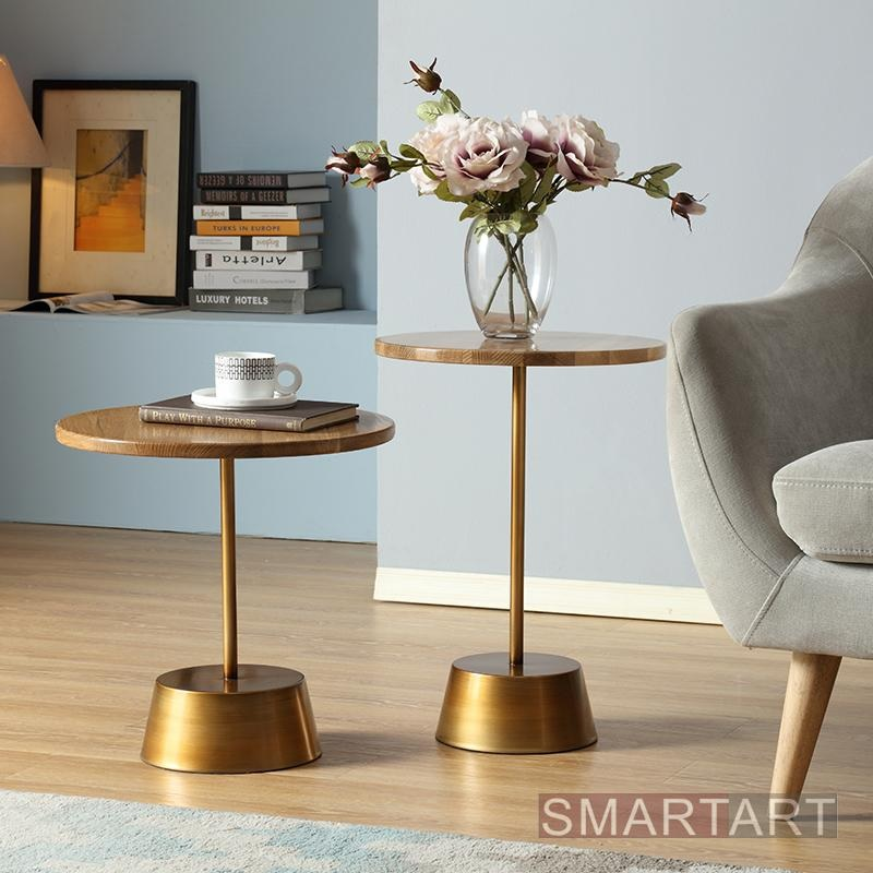 2pcs PACK Sweden Design Round Coffee Table / Wood Top and Metal Base with Brass Appearance / 57x40cm +46x45cm