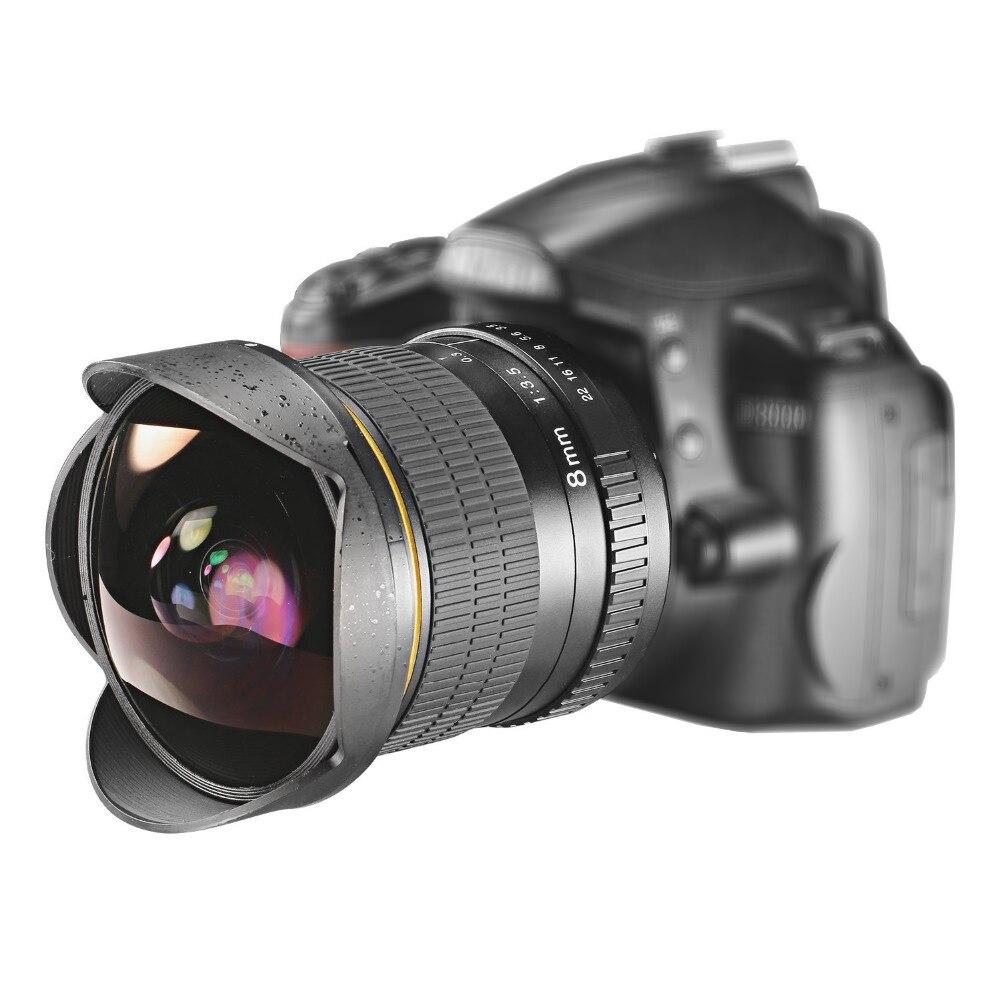 Lightdow 8mm F/3.5 Ultra Grand Angle Fisheye Lentille pour Appareil Photo REFLEX NUMÉRIQUE Nikon D3100 D3200 D5200 D5500 D7000 d7200 D800 D700 D90 D7100