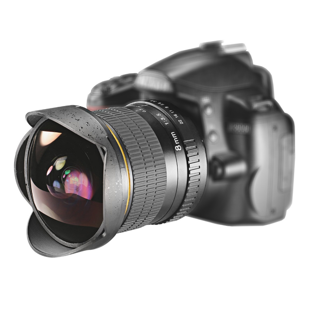 Lightdow 8mm F / 3.5 Ultra Wide Angle Fisheye Lens untuk Nikon DSLR Camera D3100 D3200 D5200 D5500 D7000 D7200 D800 D700 D90 D7100