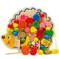 Bonito frisado brinquedo hedgehog brinquedos de madeira de matemática para crianças 3 anos de idade do bebê brinquedos montessori madeira educacional toy fun jogos