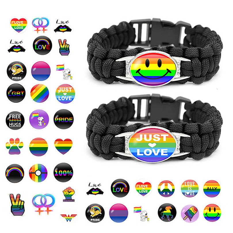 新スタイルゲイプライドガラスバックルチャーム腕輪虹 Flag ゲイジュエリー手作り DIY ビーズ織り黒革 LGBT ブレスレット