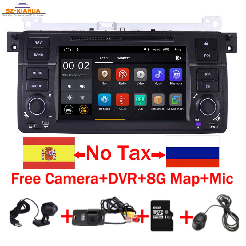 2019 Android 8.1 dvd de voiture pour BMW E46 M3 Stéréo vido GPS audio Wifi 3G GPS Bluetooth Radio RDS OBD USB SD cache de volant DVR Carte