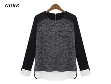 9028# 2017 newest spring Autumn women black Long sleeve fashion sweater chiffon stitching loose knit T-shirt