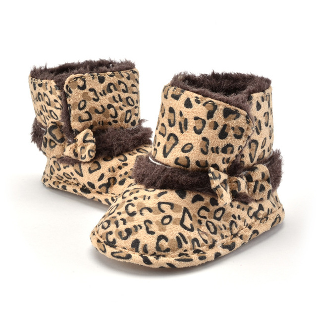 Hot Sale Newborn Baby Leopard Printed Bow Knot Warm Cotton Soft Soled Princess Infants Winter snow Boots First Walker