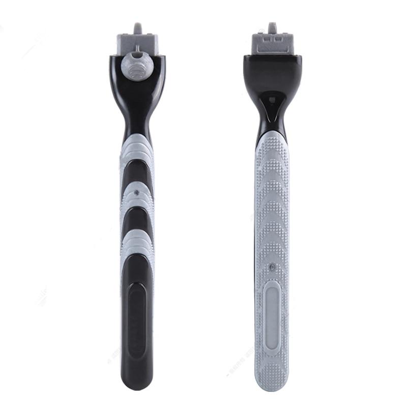Safety 2pcs Razor Long Handle Copper Portable Shaver Sharpener M System Blades For Men Shaving Razor 3 Blades