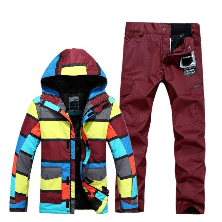 Gsou snow hombres impermeables traje de esquí masculino cortavientos chaqueta de
