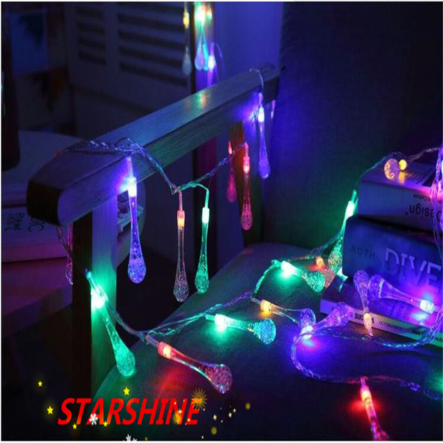 220V 10M 50 LED Strip Lamp Crystal Bubble Water Drop String Fairy Lights For Wedding Party