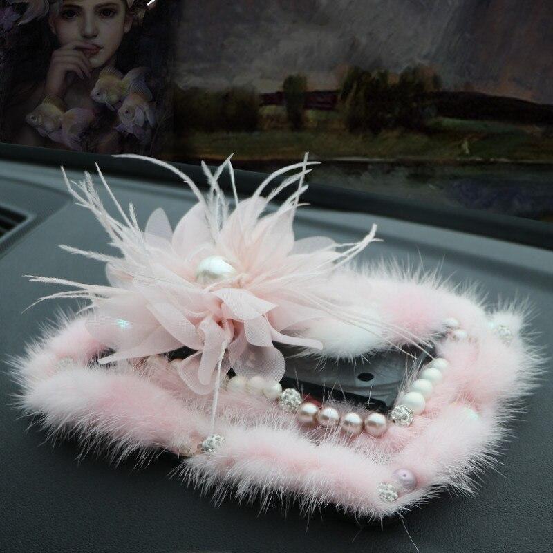 Élégant perles vison de luxe voiture de parfum fagrance accessoires pour filles Cristal intérieur ornement Auto Parfum base