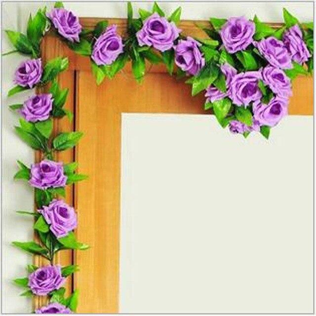 2 Stucke Simulation Seide Rose Blume Rattan Hochzeit Mall Reben