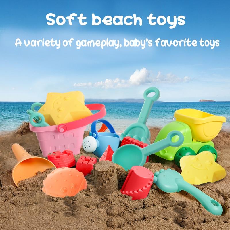 Soft Silicone Beach Toys For Children SandBox Set Kit Sea Sand Bucket Rake Hourglass Water Table Play And Fun Shovel Mold Summer