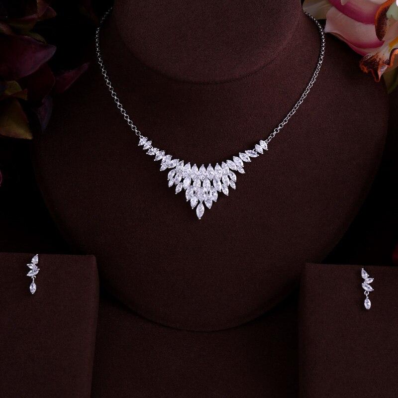 Beste QualitÄt Brilliant Kristall Zirkon Ohrringe Und Halskette Brautschmuck Set Hochzeitskleid Mithelfer SchüTtelfrost Und Schmerzen