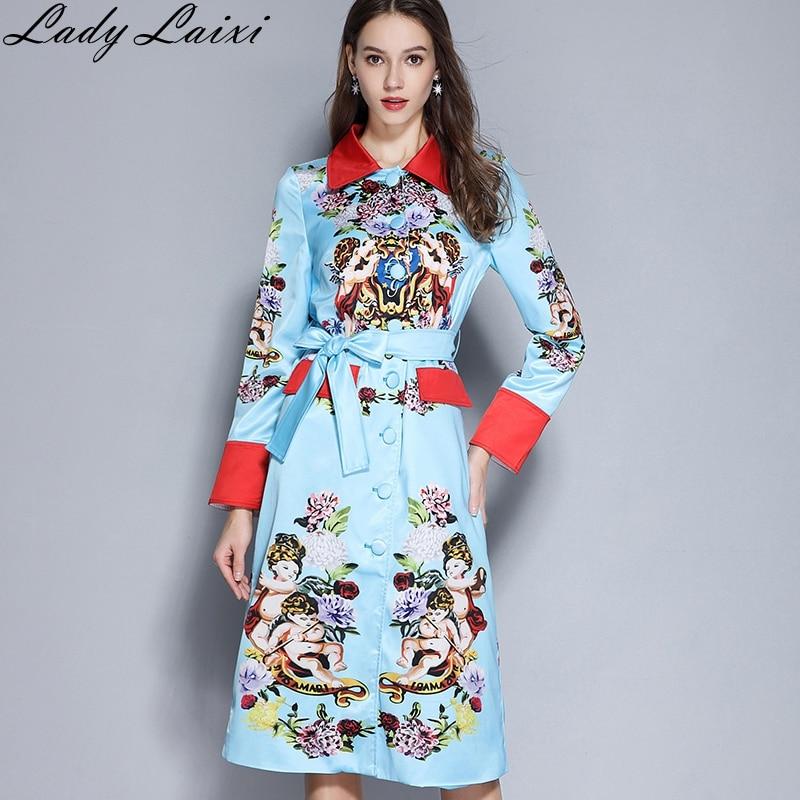 Fashion Runway Trench Coat Winter Women Wool Large Lapel Long Sleeve Angel Print Elegant Keep Warm Sky Blue Overcoat