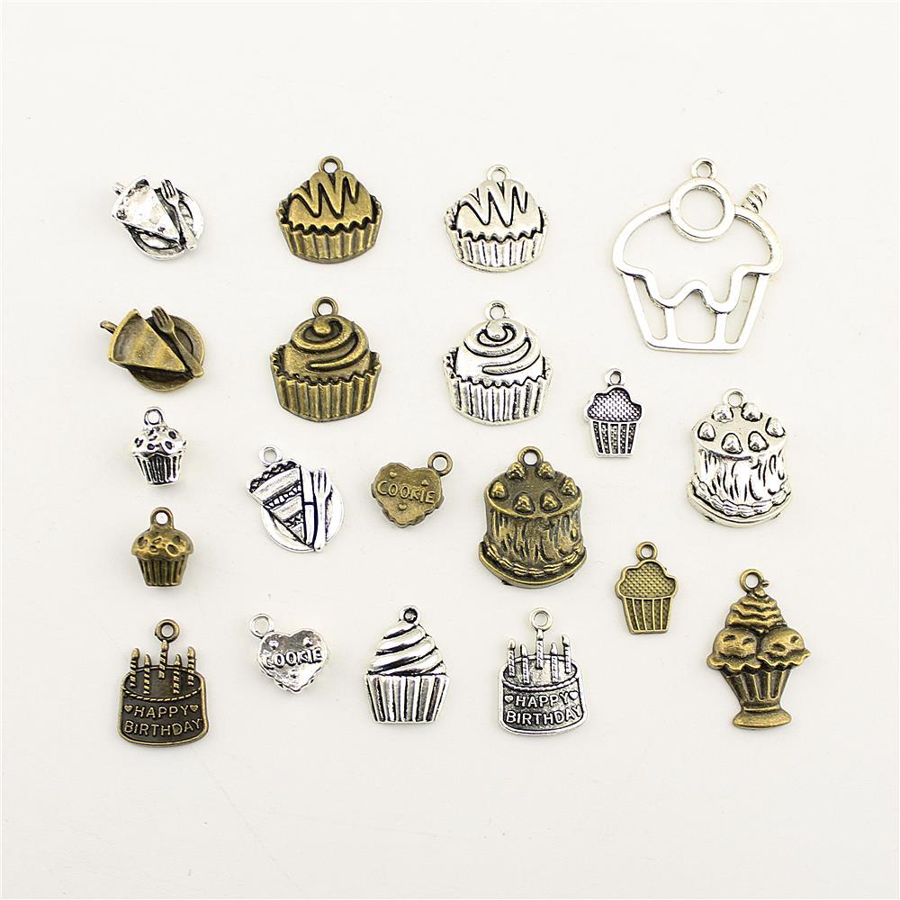 10 pçs jóias feminino feliz aniversário celebração bolo charme diy jóias acessórios charme diy acessórios