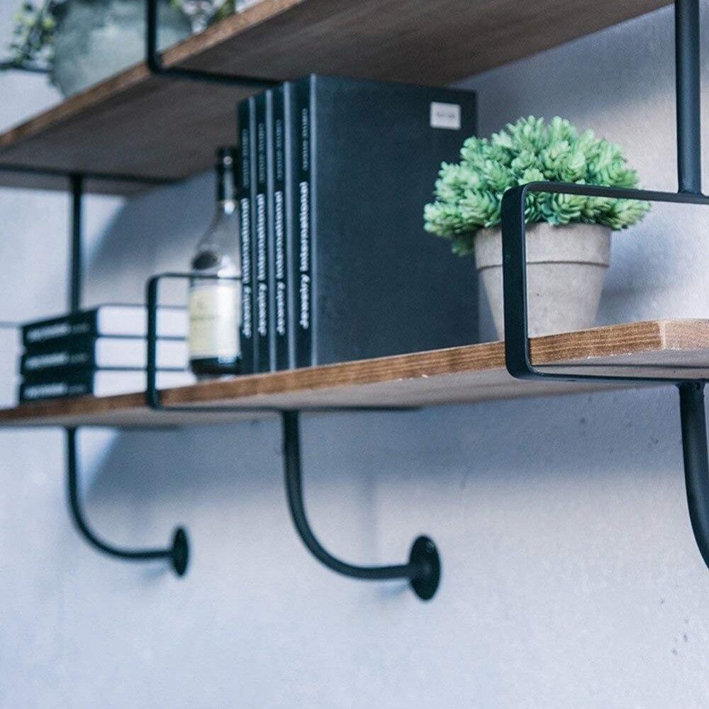 Muur Planken Drijvende Plank Muur Boekenrek Ijzeren Rekken Display Commodity Plank Unit Scheidingswand Plank Industrie Stijl - 4