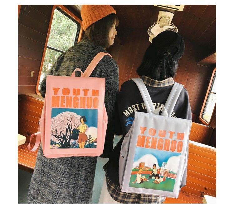 Menghuo Women Backpacks Animation Figure Printed Girls Students School Shoulder Bag for Teenage Girls Backpack Ladies Mochilas--_25