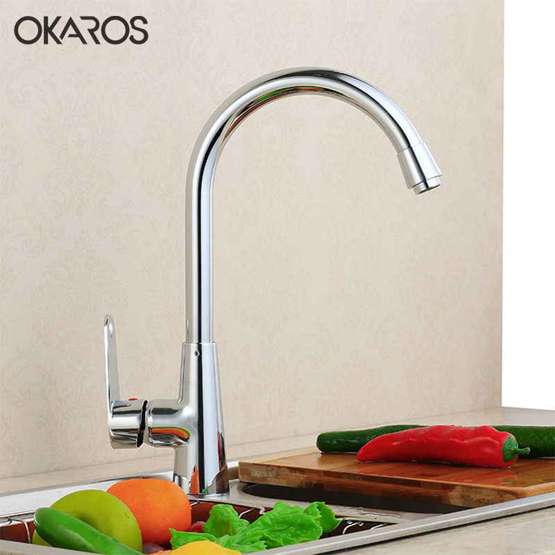 OKAROS Kitchen Faucet Deck Mounted 360 Degree Rotation Brass Chrome Hot And Water Vessel Sink Basin