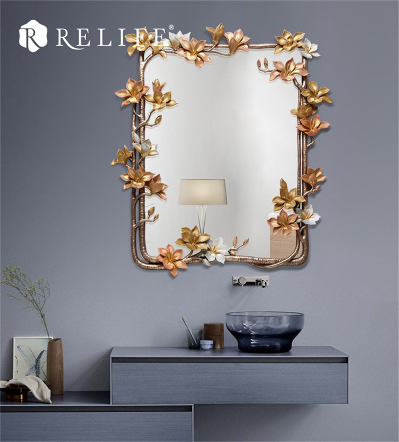 New Magnolia Rectangle Wall Mirror Home Decor Cermin kreatif untuk - Hiasan rumah - Foto 2